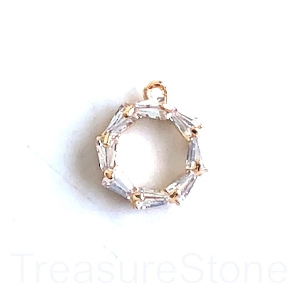 Pave Charm, brass, 10mm gold loop, clear Cubic Zirconia. Ea