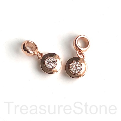 Pave Charm, pendant, brass, 10mm coin, rose gold, clear CZ. Ea