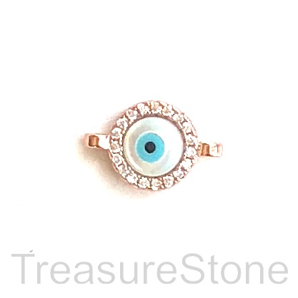 Pave charm, connector, brass, rose gold, 9mm evil eye, CZ. Ea