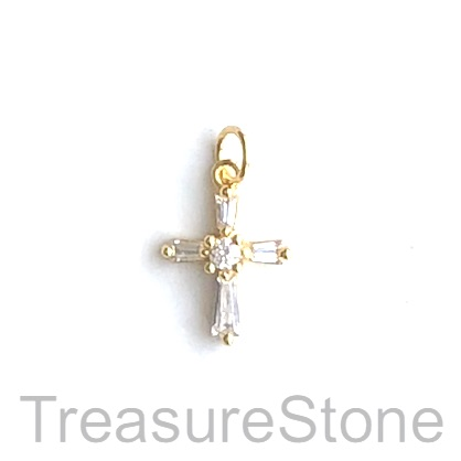 Pave Charm, brass, gold, 10x13mm cross. Each