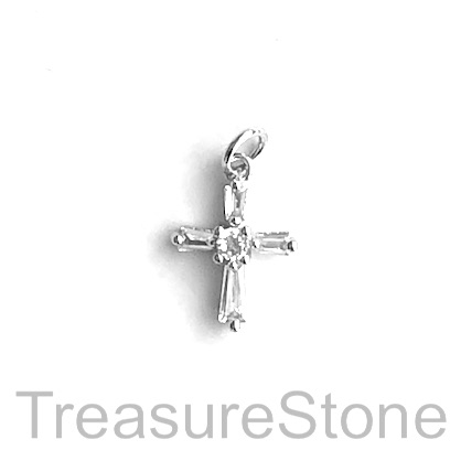 Pave Charm, brass, silver, 10x13mm cross. Each
