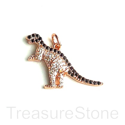 Charm, brass, 13x28mm rose gold dinosaur, Cubic Zirconia. Each