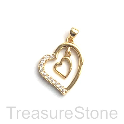 Pave Charm, 16mm gold double hearts, Cubic Zirconia. Each