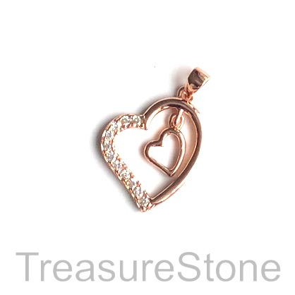 Pave Charm, 16mm rose gold double hearts, Cubic Zirconia. Each