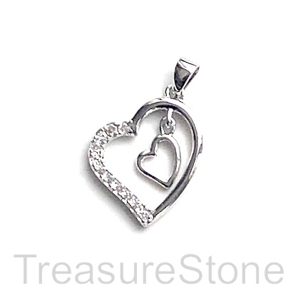 Pave Charm, 16mm silver double hearts, Cubic Zirconia. Each