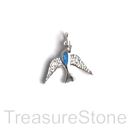 Pave Charm, 10x14 mm, silver dove, Cubic Zirconia. Each