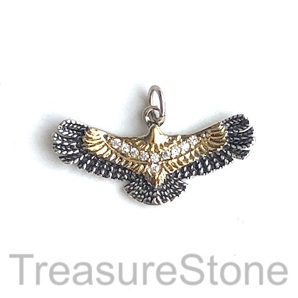 Pave Charm, pendant, brass, 12x27mm silver black, gold eagle. Ea
