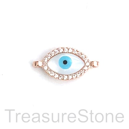 Pave Charm, connector, pendant, 13mm evil eye, rose gold, each