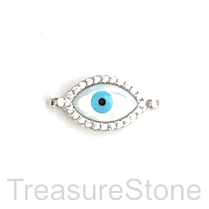 Pave Charm, connector, pendant, 13mm evil eye, silver, each