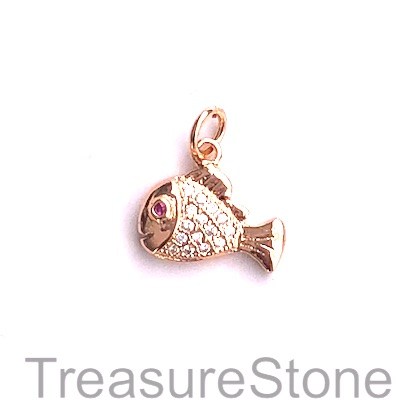Charm, brass, 10x14mm rose gold fish 3, Cubic Zirconia. Each