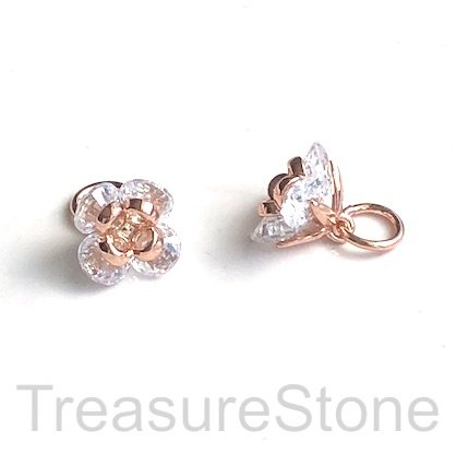 Pave Charm, brass, 7mm rose gold flower, CZ. Each