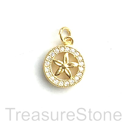 Pave Charm, brass, gold, 10mm, Cubic Zirconia. Each