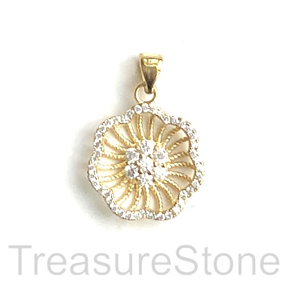 Pave charm, pendant, 11x14mm flower, gold, brass, CZ. Ea