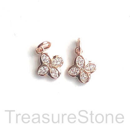 Pave Charm, brass, 9mm rose gold flower, CZ. Each