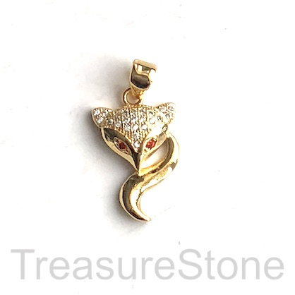 Pave Charm, 12x19 mm gold fox 2, Brass, CZ. Each