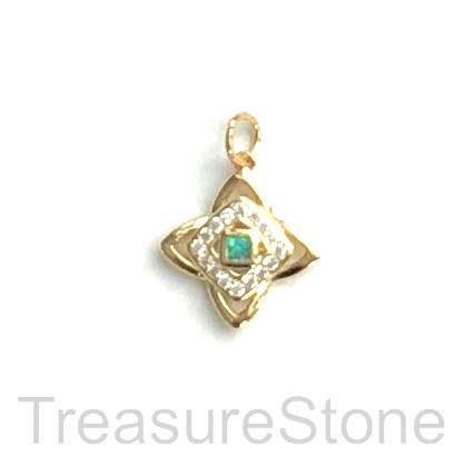 Charm, brass, gold, 12mm, Cubic Zirconia. Each