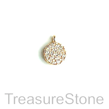 Charm, brass, 6mm gold disk, Cubic Zirconia. Each