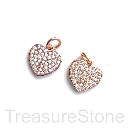 Pave Charm, brass, 10mm rose gold heart, CZ. Each