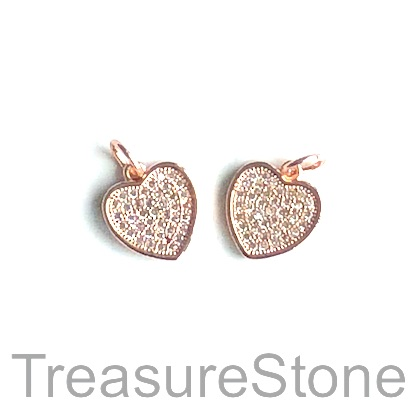 Pave Charm, brass, rose gold, 11mm heart, Cubic Zirconia. Each
