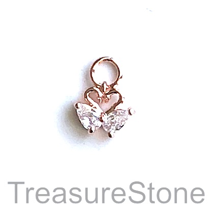 Charm, brass, rose gold, 7x9mm heart, Cubic Zirconia. Each