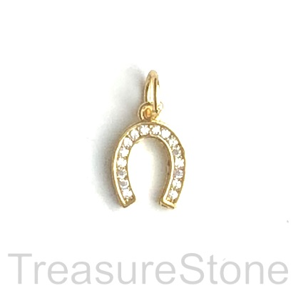 Pave Charm, 9x11 mm gold horseshoe, Cubic Zirconia. Each