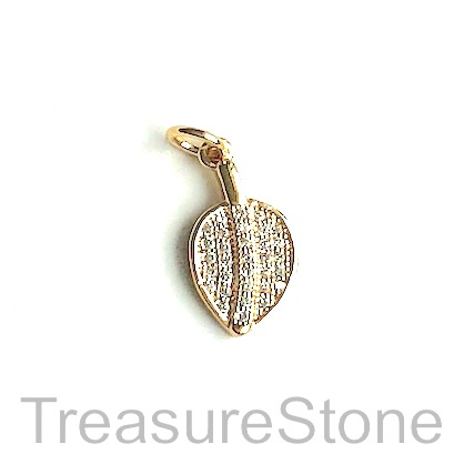 Charm, brass, 9x13mm gold leaf, Cubic Zirconia. Each