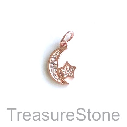 Charm, brass, rose gold, 13mm moon, star, Cubic Zirconia. Each