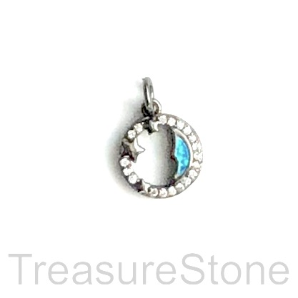 Pave Charm, brass, 14mm silver moon, Cubic Zirconia. Each