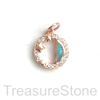 Pave Charm, 11 mm, rose gold moon, stars, Cubic Zirconia. Each