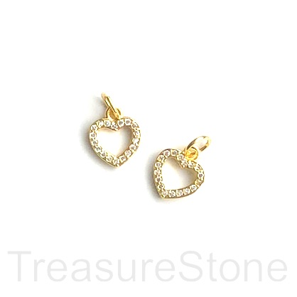 Charm, brass, gold, 9mm open heart, Cubic Zirconia. Each