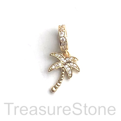 Pave Charm, 11x15mm gold palm tree, Cubic Zirconia, ea