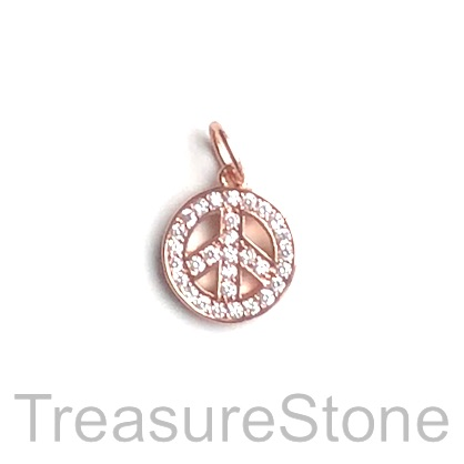 Pave Charm, brass, rose gold, 11mm peace symbol, CZ. Each