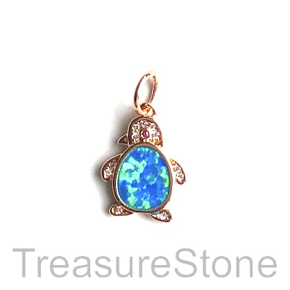 Pave Charm, brass, 11x14mm rose gold, penguin, Cubic Zirconia.Ea