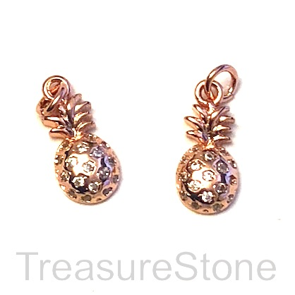 Pave Charm, brass, 6x11mm rose gold pineapple, Cubic Zirconia.Ea