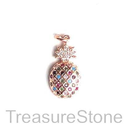Pave Charm, 10x17 mm rose gold pineapple, Cubic Zirconia. Ea