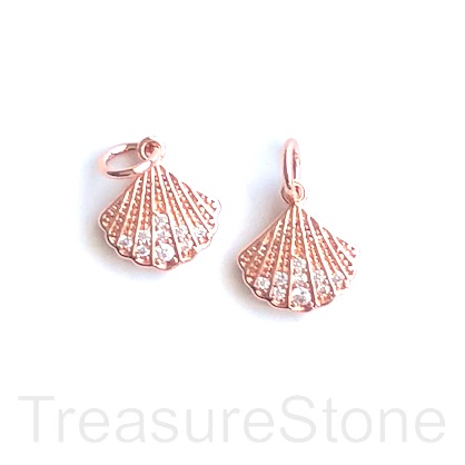 Charm, brass, 10x11mm rose gold shell, CZ. Ea