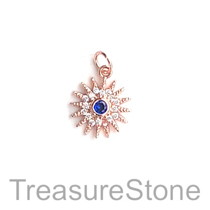Charm, brass, 13mm rose gold, snowflake, Cubic Zirconia. Each