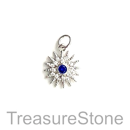 Charm, brass, 13mm silver snowflake, Cubic Zirconia. Each
