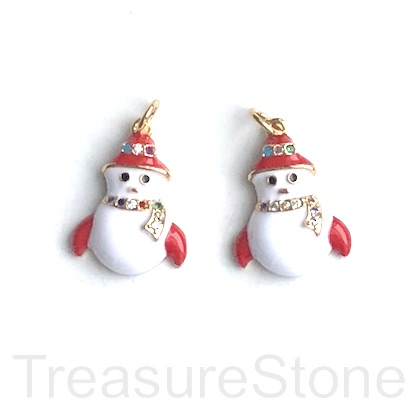 Charm, pave, 14x19mm enamel white, gold snowman. Each