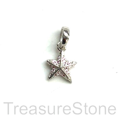 Pave Charm, brass, 10 mm silver star, light pink CZ. Each