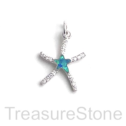 Pave Charm, 14 mm, silver starfish, Cubic Zirconia. Each
