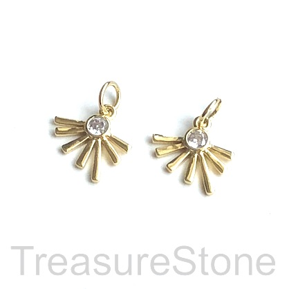 Charm, brass, 12mm gold sunrise, Cubic Zirconia. Each