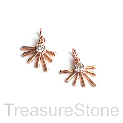 Charm, brass, 12mm rose gold sunrise, Cubic Zirconia. Each