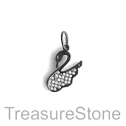 Charm, brass, black, 13x15mm swan, Cubic Zirconia. Each