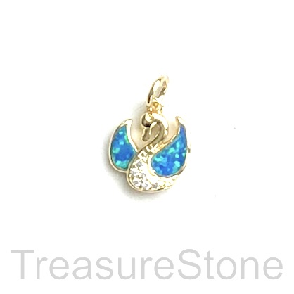 Charm, brass, gold, 10mm swan, Cubic Zirconia. Each