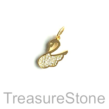 Charm, brass, gold, 13x15mm swan, Cubic Zirconia. Each