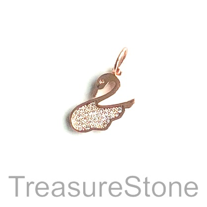 Charm, brass, rose gold, 13x15mm swan, Cubic Zirconia. Each