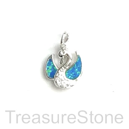Charm, brass, silver, 10mm swan, Cubic Zirconia. Each