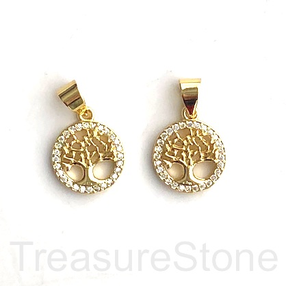 Charm, brass, 12mm gold coloured Tree of Life, CZ. Ea