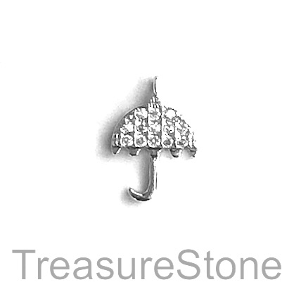 Charm, brass, silver, 10x12mm umbrella, Cubic Zirconia. Each